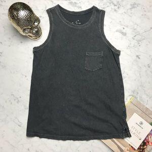 Target Grey Burnout Sleeveless Pocket Tank Top